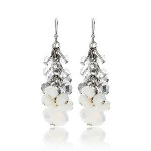 NWT White Beaded Linear Earrings